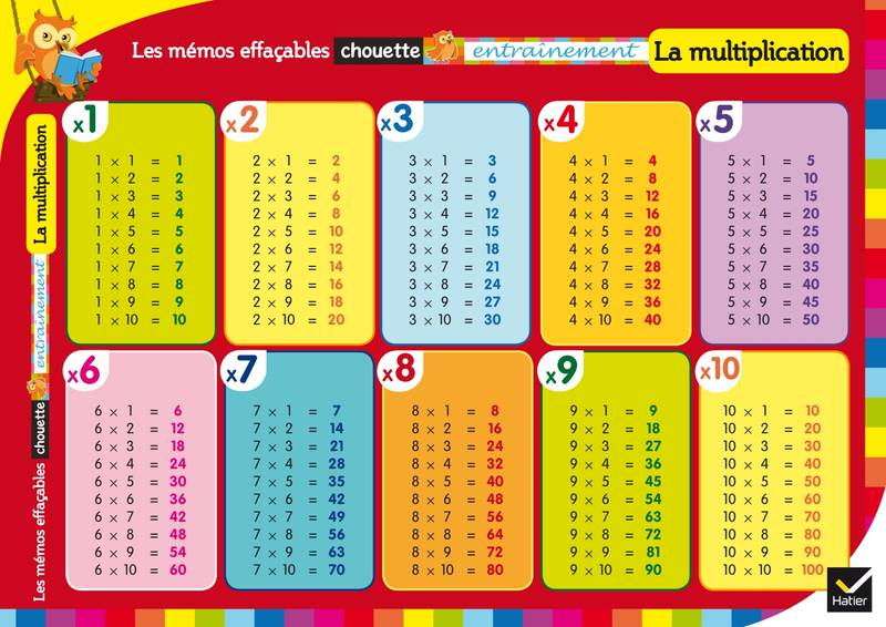 Livre les m mos effa ables la multiplication collectif for La table du multiplication